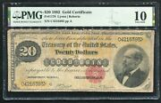 Fr. 1178 1882 20 Twenty Dollars Gold Certificate Currency Note Pmg Very Good-10