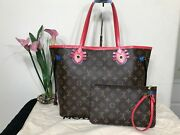 100 Auth Louis Vuitton Monogram Neverfull Mm Totem Limited Edition Excellent