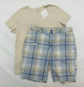 St. Johnand039s Bay Plaid Shorts Size 12 And Croft And Barrow Cream Shirt New Size Xl