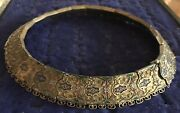 Atq Russian Middle East / Turkish Enamel Gilt And 900 Silver Choker W/pin Closure
