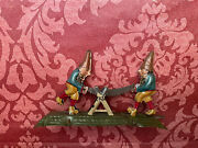 Antique Germany Tin Litho Penny Toy Sawing Gnomes Distler Fischer Meier Vtg Old