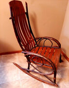 Antique Adirondack Bentwood Twig Rocking Chair With Oak Slat Back And Seat