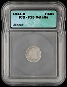 1844 O Seated Liberty Half Dime H10c Icg F 15 Details | 5 Cent