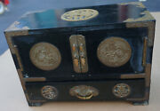 Antique Wood And Brass Inlay Chinese Jewelry Trinket Box Dragon Asian 3 Drawer Vtg