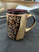 Antique Moser Amethyst Glass Mug With Handle Hand Painted Stunning