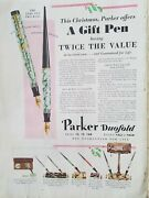 1930 Parker Duofold Mottled Fountain Pens Vintage Christmas Color Ad