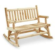 Wooden Rocking Bench Solid Wood 2 Person Outdoor Patio Seat Weather Resistant