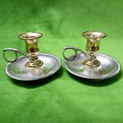 Vintage Candlestick Pair/chamber Candle Holder Finger Handle Gold Silver Plated