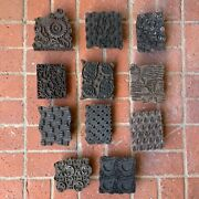 Antique India Hand Carved Wooden Textile Wallpaper Printing Blocks Lot Of 11