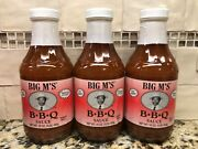 3 Bottles Big M's Smooth And Easy Bbq Sauce 18oz Barbecue Pork Beef Fat Free Nc