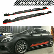 Carbon Fiber Side Skirts Fit For Benz A200 A45 Amg Cla250 Cla45 13-18 Red Line