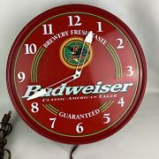 Vtg 1999 Budweiser King Of Beers Lighted Red Wall Clock - For Parts Not Working