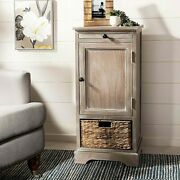 Rustic Narrow Farmhouse Storage Cabinet Side Table W/basket And Pull-out Shelf