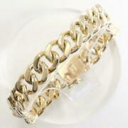 14k Yellow Gold Bracelet About19cm Curb Chain 2sides Free Shipping Used