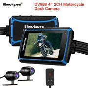 Blueskysea Dv988 4 Touch Motorcycle Motorbike Dash Cam Recorder 30fps With 64g