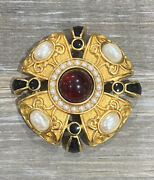 Vintage Monet Red Black And White Cabochon Gold Plated Brooch Very Rare Excellent