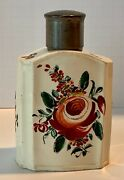 Early English Creamware Rose Spray Tea Caddy Pewter Lid Strong Provenance C.1770