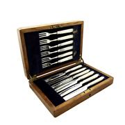 Antique Victorian Silver And Mother Of Pearl Dessert Cutlery Set 1898