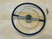 1953 1954 Chevy Belair Steering Wheel Blue And White Chrome Ring Coupe Convertible