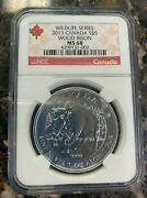 2013 Canada 5 Wildlife Series Wood Bison Ngc Ms 68 1 Oz Fine Silver