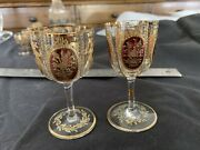 Two Antique Moser Small Wine Stems Or Cordials Late 1800s Gilt And Dark Red