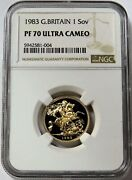 1983 Gold Great Britain Proof Sovereign Coin Ngc Pf 70 Ultra Cameo