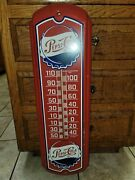 Vintage 1960and039s Pepsi-cola Thermometer Soda Pop Matel Sign