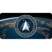 Space Force Logo Military Globe Earth License Plate Usa Made