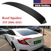 Fit For 2006-2015 Honda Civic Bright Black Abs Rear Roof Window Spoiler Wings Us