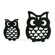 Lot Of 2 Great Horned Owl Black Cast Iron Trivets Large And Small | Vtg 70s Flaw