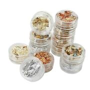 12 Pack Nail Art Foil Leaf Silver Gold Copper Flakes Chunky Glitter Body Deco...