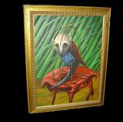 Rare Early Cuba Important Eleomar Puente Surrealist Oil Painting The Cage 1994.