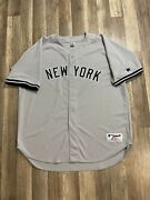 Rare Vintage New York Ny Yankees Blank Away Gray Russell Jersey Size 56
