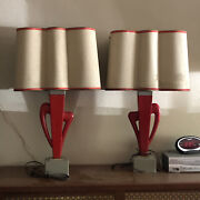 Rare Vintage Mid Century Mcm Rembrandt Atomic Cactus Table Bed Lamps W/ Shades