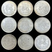 1943-1945 Mo Silver Mexico Mint 50 Centavos Cap And Rays 9 Coin Mint State Lot