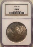 1923 Peace Silver Dollar Ngc Ms65