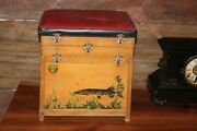 Vintage Wooden Fishing Tackle Box With Pike Picture Graphics Cap Rare L@@k Nice