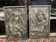 Louis Hottot 1870s Metal Orientalist Wall Plaques Pair Of Male And Female Figure