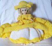Vintage Bed Doll, Pillow, Boudoir, Hand Crochet Yellow Clothes - Southern Belle