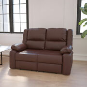 Bustle Back Loveseat With Two Built-in Recliners