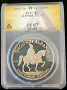 1970 Albania 10 Leke 1 Oz.999 Silver Proof Coin Anacs Pf67 Dcam Low Mintage 500