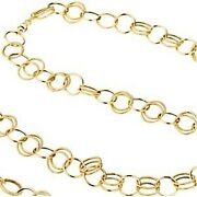 Fancy Link Chain 14k Yellow Gold Unique Open Links 38 Inch Length 14 Grams