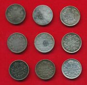 Canada 1880 Thru 1906 5 Cents Lot Of 9 Coins .3114 Ounces Of Silver