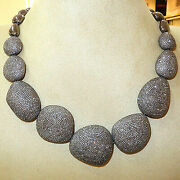 Natural Diamond Pave Gold Sterling Silver Fine Statement Necklace Jewelry Sg