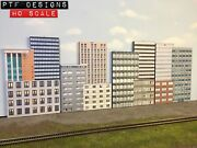 Ho Scale Commercial Combo 1,2,3,and4 Set Of 4 Building Flats/ Front 3d Background