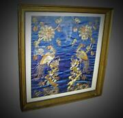 Chinese Antique Qing Silk Embroidery Framed Panel With Fenghuang Phoenix Birds