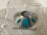Navajo Sterling Turquoise Hair Bun Barrette Ponytail Comb Old