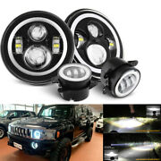 Pair Halo 7 Led Headlight And 4and039and039 Fog Light Combo Kit For 06-10 Hummer H1 H2 H3
