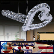 Modern Crystal Led Ceiling Light Heart Lamp Home Bedroom Fixture Chandeliers Usa
