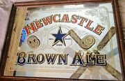 Newcastle Brown Ale Beer Sign Mirror Glass Wood Breweriana 33andrdquo X 25andrdquo Rare Mint
